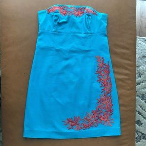 Lilly Pulitzer Bowen Turquoise Coral Dress